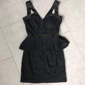 Gorgeous Black Lace Peplum Mini Dress